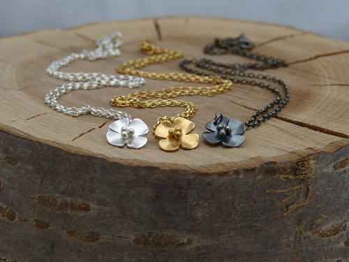 Blossom necklace in silver, gold plate and oxidised silver