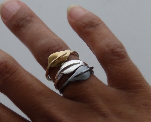 Rings shown worn