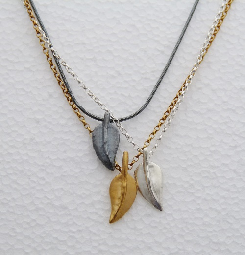 Leaf necklaces in silver, oxidised silver and gold plated silver