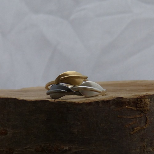 Leaf rings in silver, oxidised silver and gold plated silver