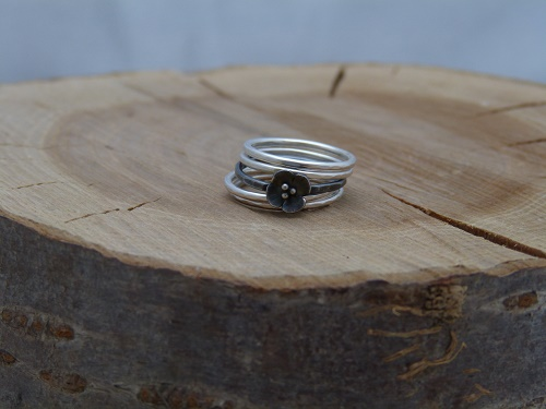 Silver and oxidised silver blossom stacking rings