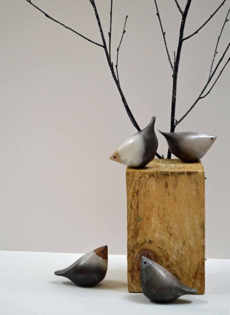Raku fired ceramic birds