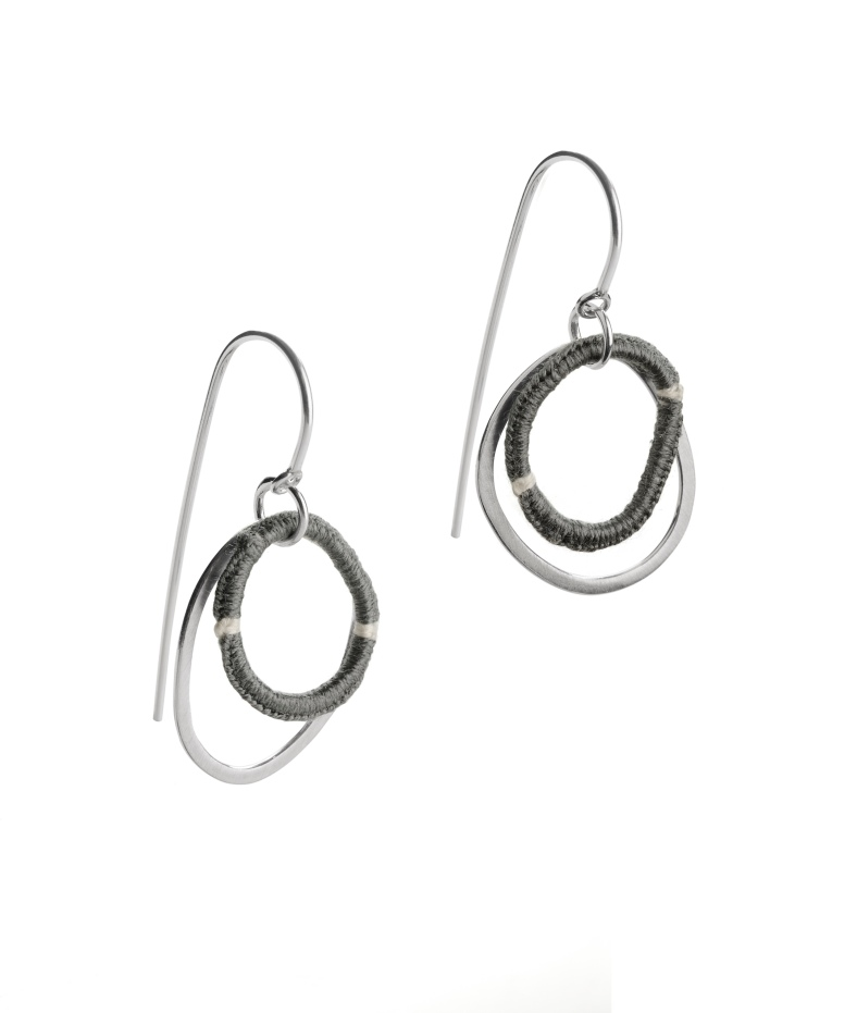 Pebble hook earrings using silver and silk threads