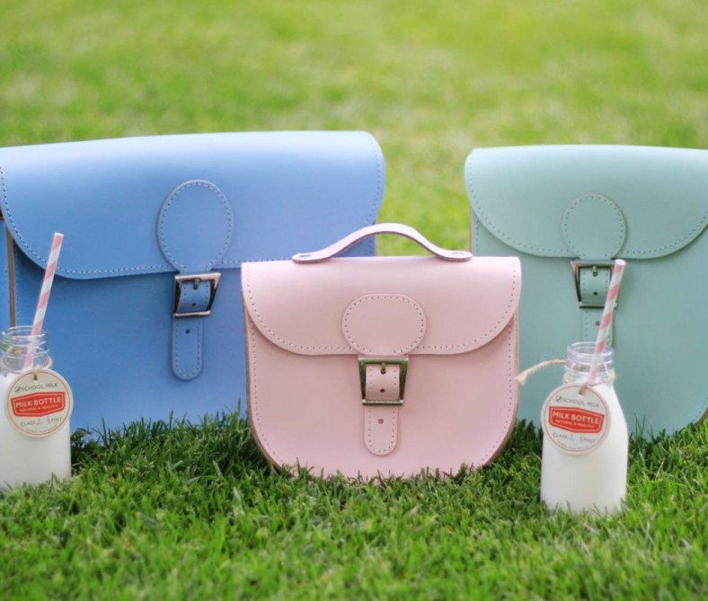 Full Pint leather bag in dusk blue,Half pint chintz leather bag in rose and milkman in grayed Jade