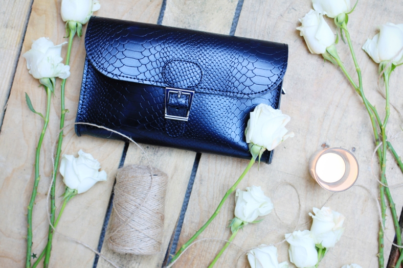 Brit Luxe Clutch in black croc leather