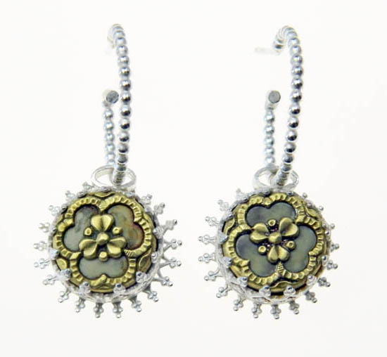Filigree button and silver hoops