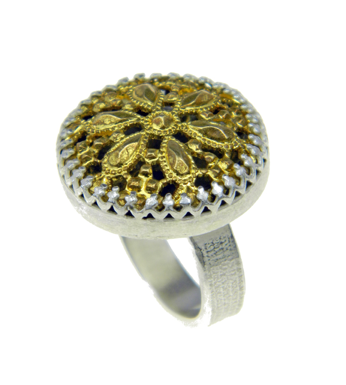 Filigree button and silver ring