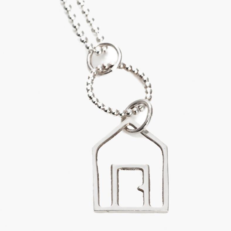 Beach Hut silver necklace by Kate Wimbush