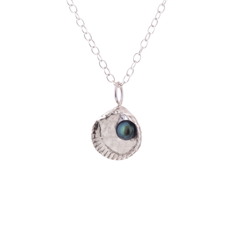 Silver sea shell pendant with fresh water pearl by Kate Wimbush
