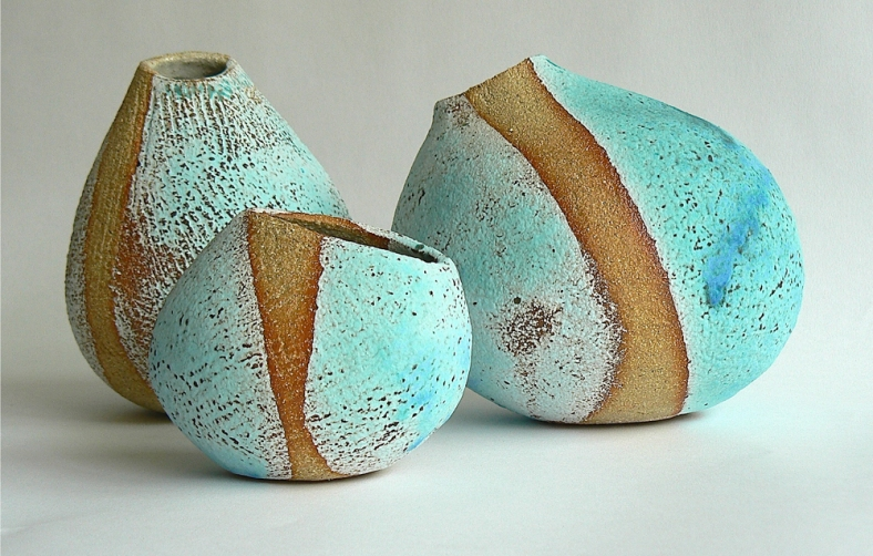 Recent pieces are vessels developed from drawings of pebbles