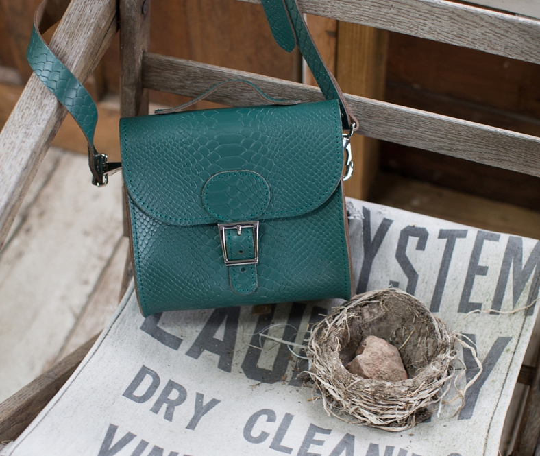 Brit Luxe Shoulder bag in forest green croc finish leather