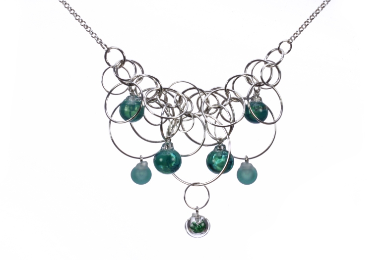Teal seven bubble necklace