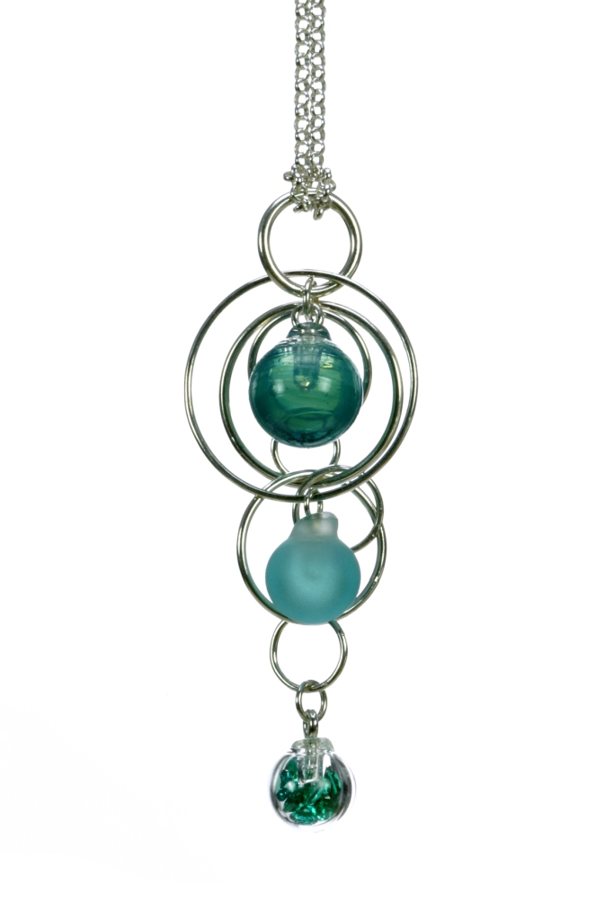 Teal triple bubble necklace
