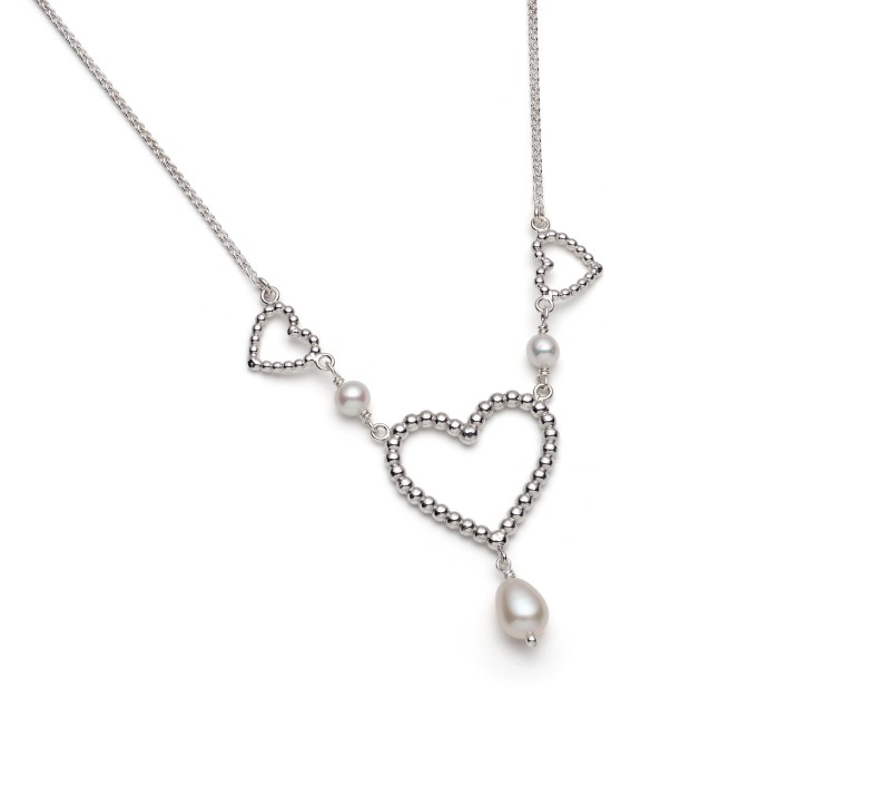 Silver and Pearl necklace from Rebecca's Heart Collection