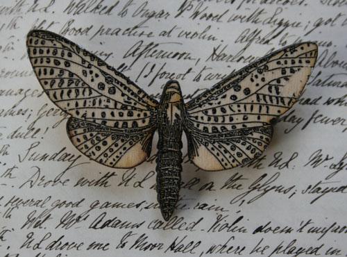 Medium Moth brooch