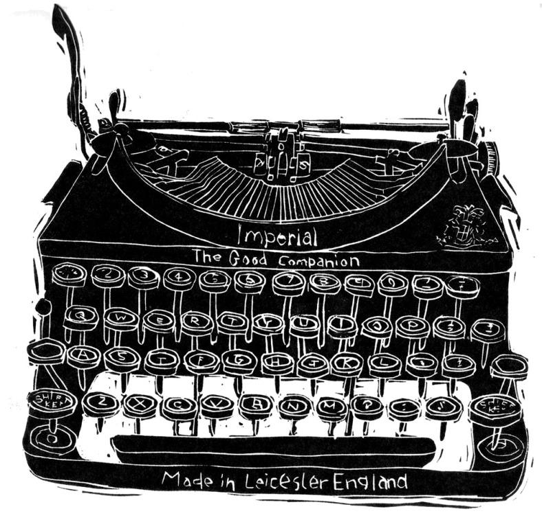 Typewriter linocut