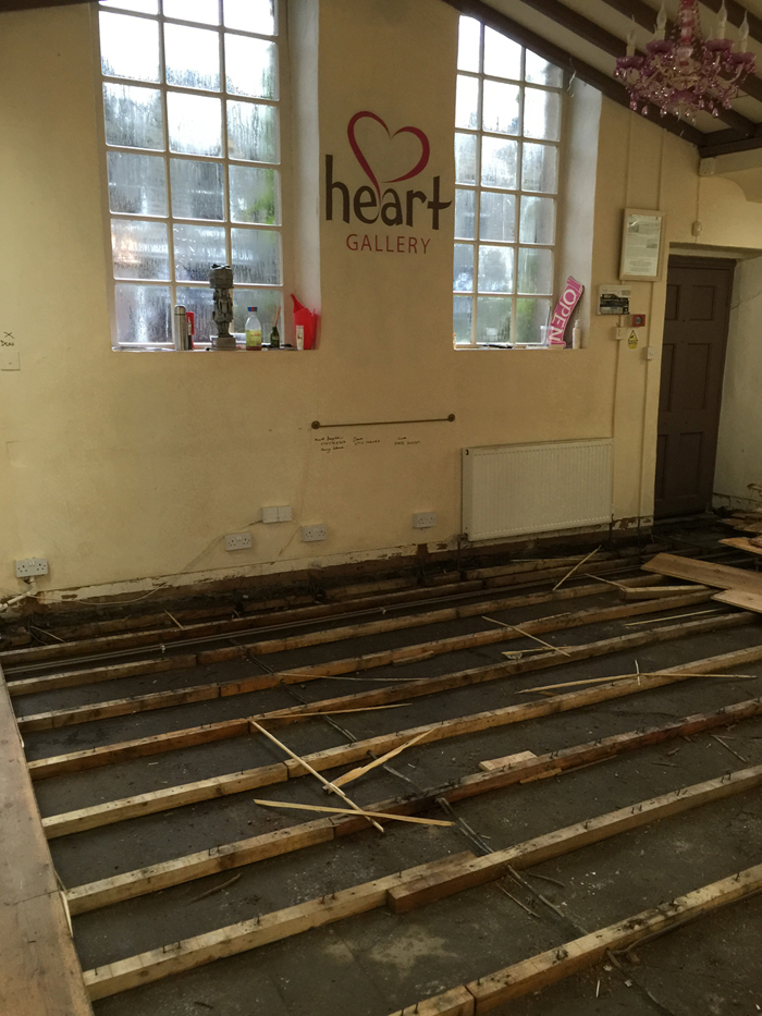 So sad to see our reclaimed wooden floor gone!
