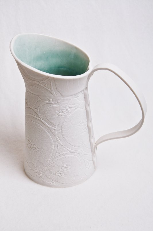 12 White green jug