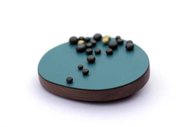 Teal dot brooch